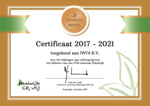 Certificaat Stichting Waalwijk CO2 vrij